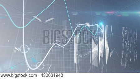 Image of lines financial data processing over grid and networks of connections. global finances network digital interface concept digitally generated image.