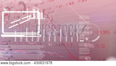 Image of lines financial data processing over digital online icons. global finances network digital interface concept digitally generated image.