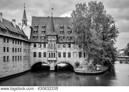 Hospice of the Holy Spirit in Nuremberg, Germany.  Black and white photography, landscape