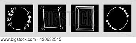 Hand Drawn Simple Frames, Isolated Template For Social Media Network Advertising. Editable Square Po