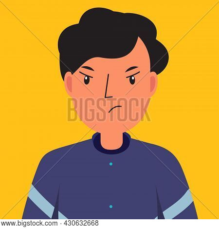 Man Angry. Male With Displeased Face. Dissatisfaction Unhappy Human Face. Vector Illustration For Pe