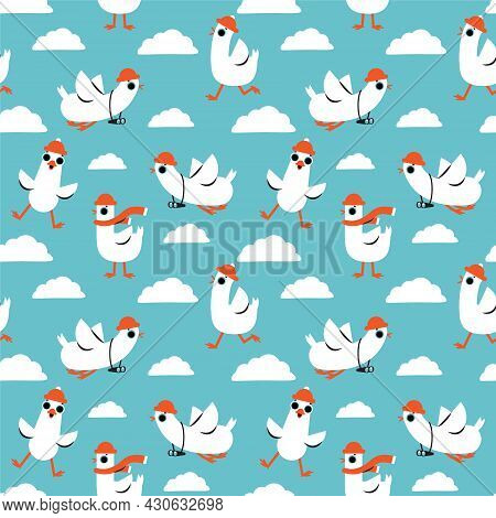 Seamless Pattern With Cartoon White Goose Birds. Background With Funny Seagulls In Blue Sky