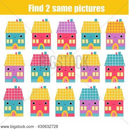 Children Educational Game. Find Two Same Pictures Of Cute House. Activity Fun Page For Toddlers And