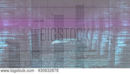 Image of financial data processing over glowing computer servers. global finance and business concept digitally generated image.