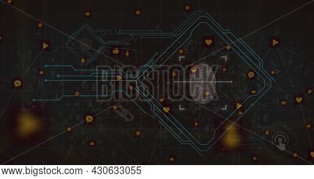Image of digital interface with fingerprint over network of connecting icons on dark background. Global digital network technology security concept digitally generated image.