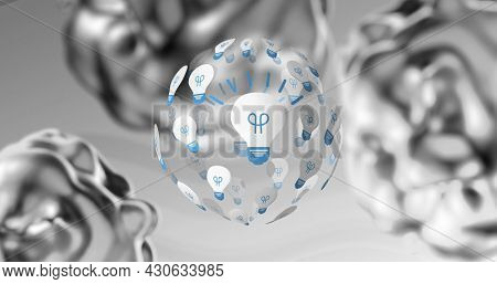 Image of transparent sphere with light bulb icons on it rotating on undulating grey background. inspiration, innovation and ideas concept, digitally generated image.