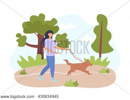 Woman Walking Dog. Girl Walks In Park On A Spring Day With Her Pet. Pictures For Children. Minimalis