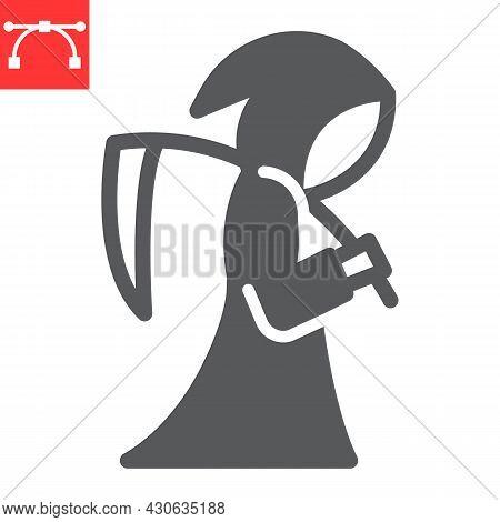 Grim Reaper Glyph Icon, Death And Halloween, Reaper Vector Icon, Vector Graphics, Editable Stroke So