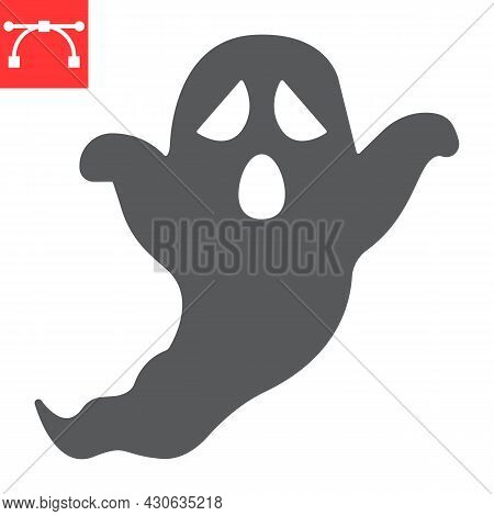 Ghost Glyph Icon, Holiday And Halloween, Ghost Vector Icon, Vector Graphics, Editable Stroke Solid S