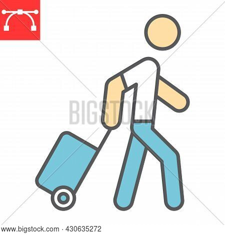 Person Pulling Luggage Color Line Icon, Migration And Tourist, Passenger With Rolling Bag Vector Ico