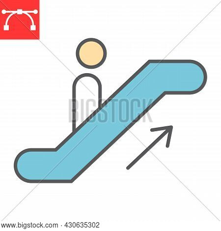 Escalator Up Color Line Icon, Information And Airport, Man On Escalator Vector Icon, Vector Graphics