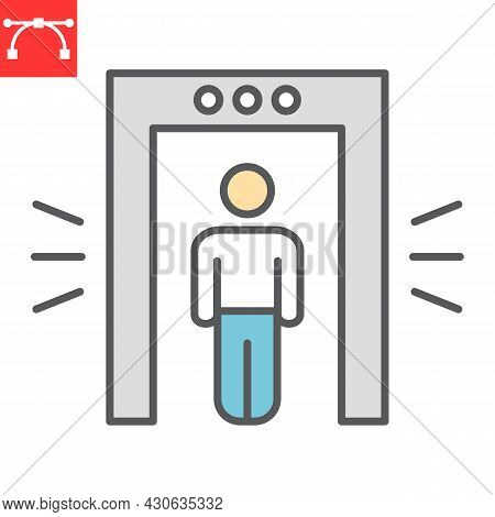 Metal Detector Color Line Icon, Security And Airport, Security Control Vector Icon, Vector Graphics,