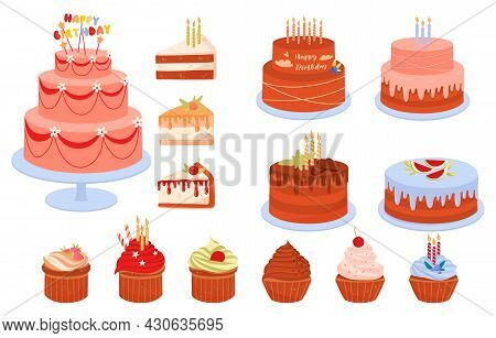 Set Of Birthday Cakes. Lots Of Badges And Icons For Websites. Graphic Element For Greeting Cards. Ma