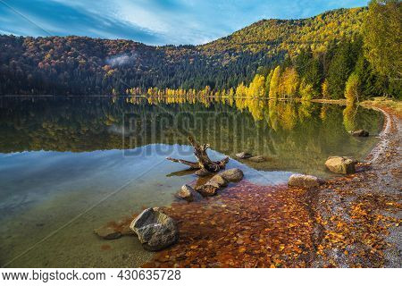 Wonderful Autumn Scenery With Colorful Deciduous Trees In The Forest And Majestic Volcanic Lake. Pop