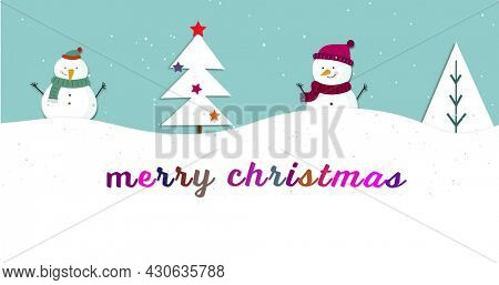 Image of merry christmas text over winter scenery with christmas tree and two snowmen, fir tree branches on blue background. christmas festivity celebration concept digitally generated image.