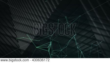 Image of floating digital network of connections on a dark background. Global digital network technology concept digitally generated image.