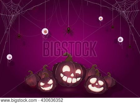 Halloween Purple Background. Banner With Pumpkins, Scary Eyes And Black Spiders On Cobwebs. Illustra