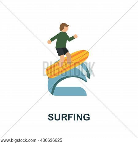Surfing Icon. Flat Sign Element From Extreme Sport Collection. Creative Surfing Icon For Web Design,