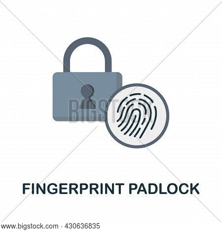 Fingerprint Padlock Flat Icon. Colored Sign From Futurictic Technology Collection. Creative Fingerpr