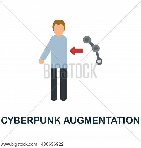 Cyberpunk Augmentation Flat Icon. Colored Sign From Futurictic Technology Collection. Creative Cyber