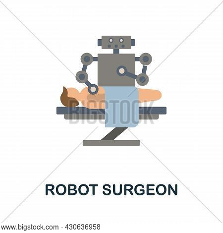 Robot Surgeon Flat Icon. Colored Sign From Futurictic Technology Collection. Creative Robot Surgeon