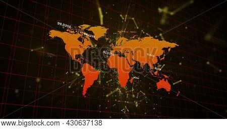 Image of floating network of connections over digital interface with world map on black background. Global digital network technology concept digitally generated image.