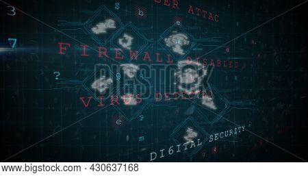 Image of digital interface with icons and changing numbers on a black background. Global digital network technology security concept digitally generated image.