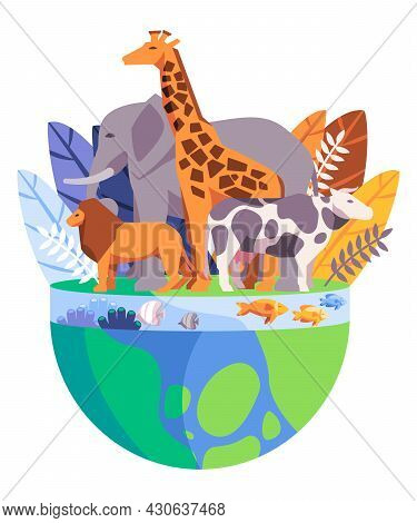 Cartoon Background With Elephant Giraffe Lion Fish And Coral Reefs In Green And Blue Color