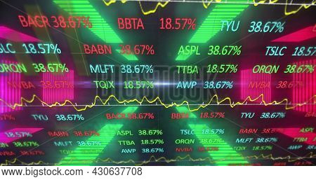 Image of digital interface with stock market and graph over digital tunnel. Global digital network technology concept digitally generated image.