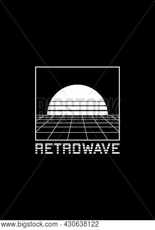 Retrowave T-shirt And Apparel Design With Perspective Grid, Sun In The Horizon, And Stripy Title Ret