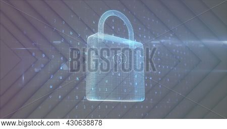 Image of digital interface with padlock over changing numbers on light background. Global digital network technology security concept digitally generated image.