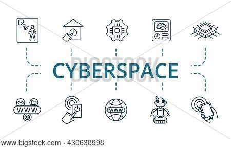 Cyberspace Icon Set. Contains Editable Icons Theme Such As Sensors, Nfc, Internet And More.
