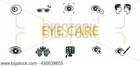 Eye Care Icon Set. Contains Editable Icons Theme Such As Phoropter, Vision Correction, Cataract Surg