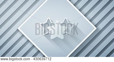 Paper Cut Five Stars Customer Product Rating Review Icon Isolated On Grey Background. Favorite, Best