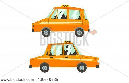 Orange Taxi Cab As Vehicle For Public Hire Vector Set