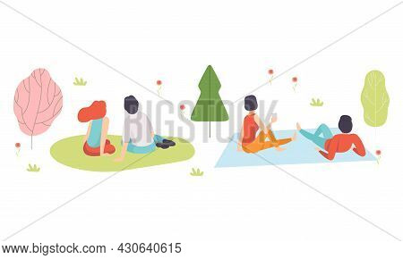 Romantic Couple Enjoying Picnic In Nature Sitting On Blanket Back View Vector Set