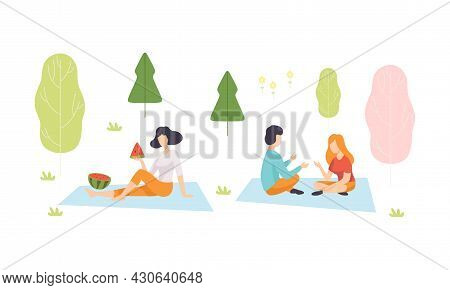 People Character Enjoying Picnic In Nature Sitting On Blanket Talking And Eating Watermelon Vector S