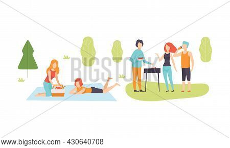 People Character Enjoying Picnic Or Barbecue In Nature Sitting On Blanket And Grass Talking And Gril