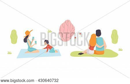 People Character Enjoying Picnic In Nature Sitting On Blanket And Grass Vector Set