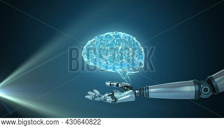 Image of 3d blue glowing human brain rotating with robot arm reaching out on glowing blue background. Global science artificial intelligence concept digitally generated image.