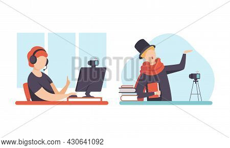 Man Blogger Or Vlogger Making Video Content For Channel Sitting In Front Of Computer With Headphones