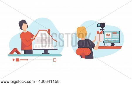 Man Blogger Or Vlogger Making Photo And Video Content For Web Channel Vector Set