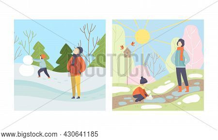 Season Scene With People Character Walking In Snowy Winter Building Snowman And Playing Boat In Spri