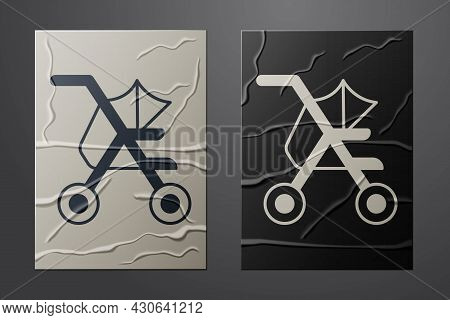 White Baby Stroller Icon Isolated On Crumpled Paper Background. Baby Carriage, Buggy, Pram, Stroller