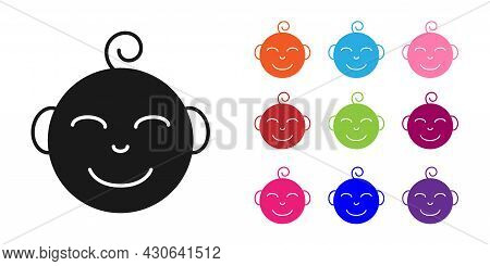 Black Happy Little Boy Head Icon Isolated On White Background. Face Of Baby Boy. Set Icons Colorful.