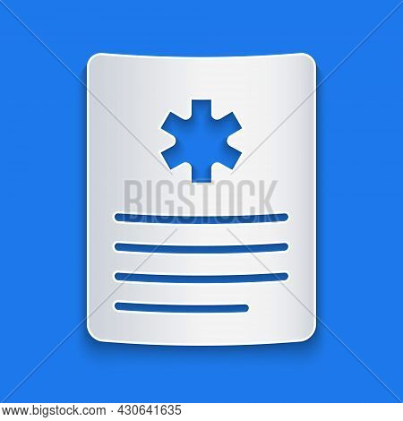 Paper Cut Medical Clipboard With Clinical Record Icon Isolated On Blue Background. Prescription, Med