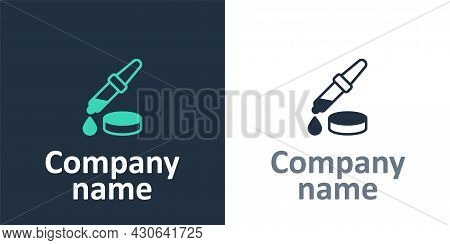 Logotype Pipette Icon Isolated On White Background. Element Of Medical, Chemistry Lab Equipment. Pip