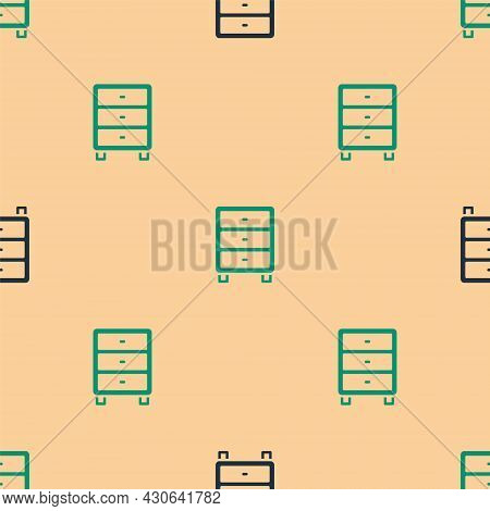 Green And Black Archive Papers Drawer Icon Isolated Seamless Pattern On Beige Background. Drawer Wit