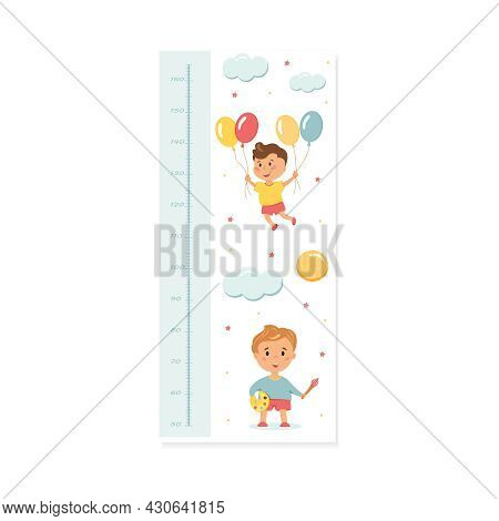 Wall-mounted Height Rod For Children With A Ruler In Centimeters.