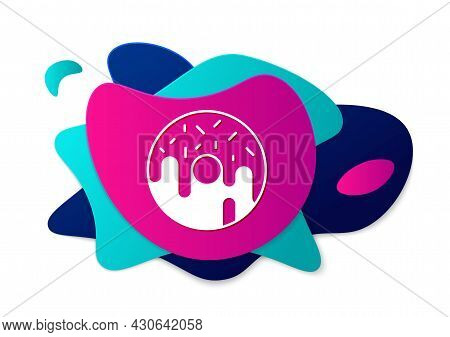Color Donut With Sweet Glaze Icon Isolated On White Background. Abstract Banner With Liquid Shapes.